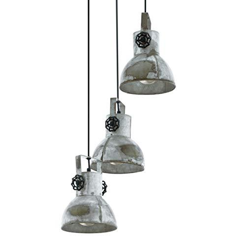EGLO Pendellampe Barnstaple, 3 flammige Vintage Pendelleuchte im Industrial Design, Retro Hängelampe aus Stahl im Zink Used-Look, Farbe: braun-Patina, schwarz, Fassung: E27