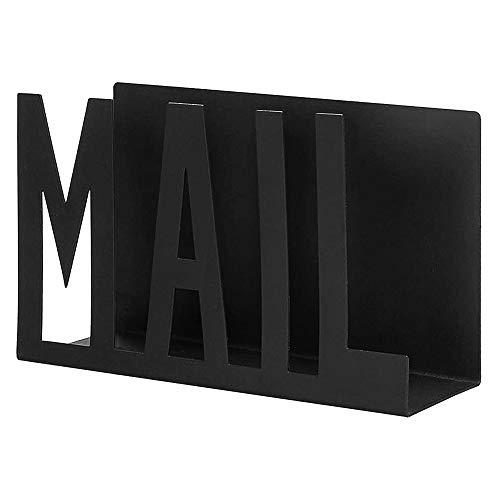 MOPOIN Briefständer, Briefhalter aus Metall, Schreibtisch Deko für Rechnungen, Dokumente, Schreibtisch, Zuhause, Schule (Schwarz)
