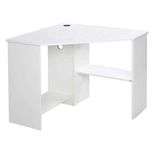 HOMCOM Multi-Tier Corner Computer Desk Writing Table for Home & Office with Multiple Shelves Built for Storage, White