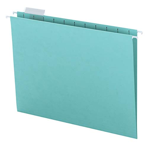 Smead Colored Hanging File Folder with Tab, 1/5-Cut Adjustable Tab, Letter Size, Aqua, 25 per Box (64058)