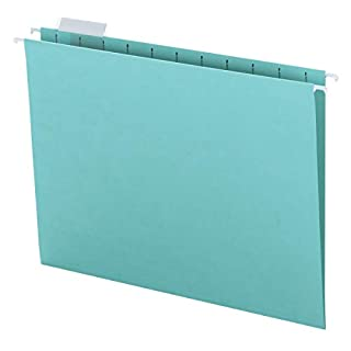 Smead Colored Hanging File Folder with Tab, 1/5-Cut Adjustable Tab, Letter Size, Aqua, 25 per Box (64058) (B000DN8998) | Amazon price tracker / tracking, Amazon price history charts, Amazon price watches, Amazon price drop alerts