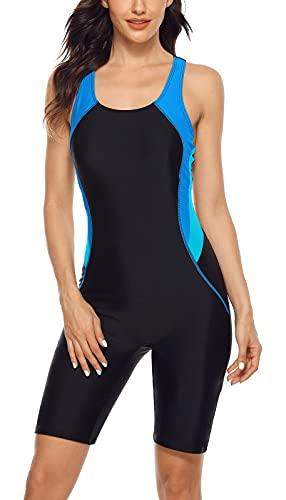 beautyin Women Sports Racerback Boyleg Training Aquatard Swimsuit Bathing Suit Blue/Black