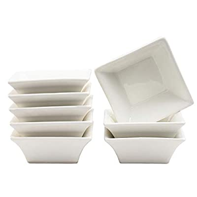 5oz Ramekins White Small Square Dishes,Dipping Bowls Stackable Porcelain Ramekins Set of 8 XUFENG