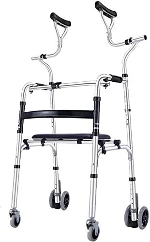 Lightweight Upright Rolling Walkers para personas mayores con asiento y apoyo axilar, ayuda para caminar de aluminio plegable para personas altas / adultos, altura ajustable