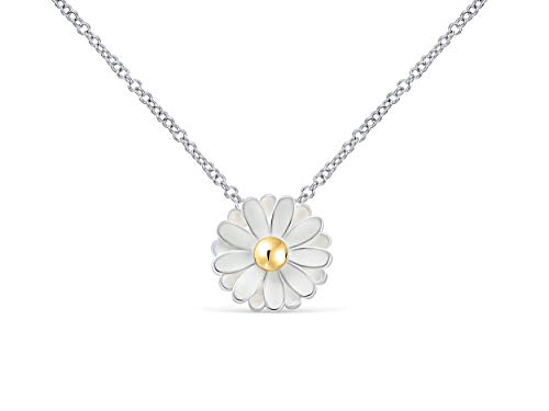 ONDAISY Spring Daisy White Silver Color Flower Charm Pendant Statements Necklace for Women Girls Teens