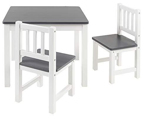 BOMI Holzsitzgruppe für Kinder Amy aus Kiefer Massiv Holz | bis 180 KG belastbar | für Kleinkinder, Mädchen und Jungen Grau Weiß
