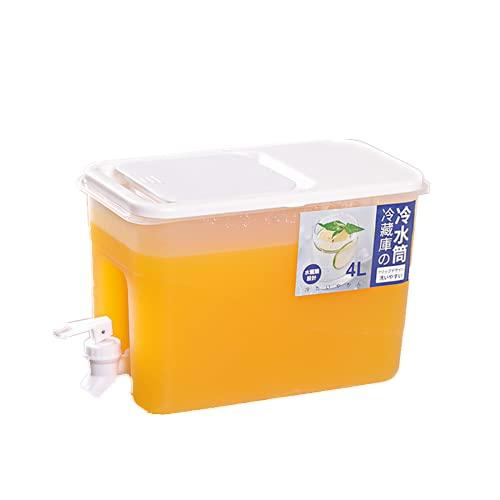 Dispensador de agua fría para la nevera, botella de plástico PP reutilizable con grifo, fuente de agua caliente o fría, bebidas, cócteles, té de frutas, café, leche, zumo(4 Litros)