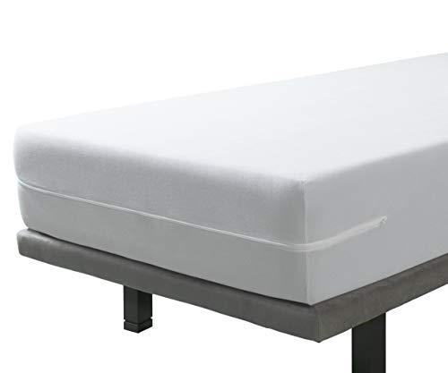 Velfont - Funda de colchón elástica y Transpirable, 90 x 190/200, Funda de colchón Flexible con Cremallera. Tejido de Microfibra. para colchones de hasta 30 cm de Altura, Blanco, 120x190/200cm