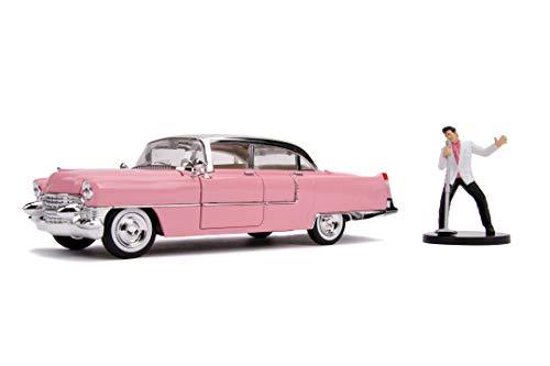 Jada Toys 253255012 Elvis Presley Cadillac Fleetwood, 1955, Auto, Spielzeugauto aus Die-cast, öffnende Türen, Kofferraum & Motorhaube, inkl. Elvis Figur, Maßstab 1:24, rosa