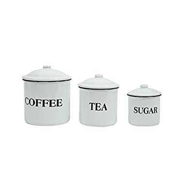 Creative Co-Op DA1985 Set of 3 Metal Containers with Lids, Coffee , Tea , Sugar