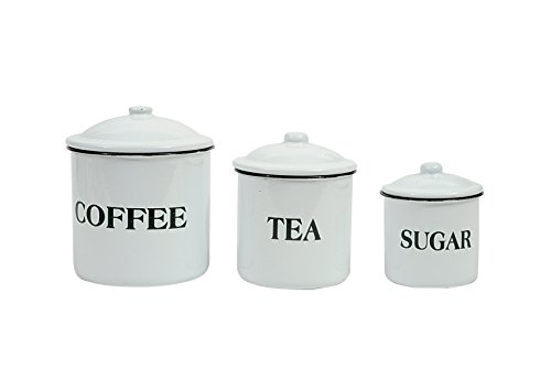 "Creative Co-Op DA1985 Set of 3 Metal Containers with Lids,""Coffee"",""Tea"",""Sugar"""