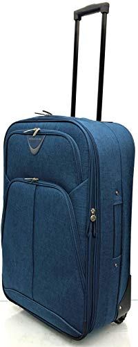 26' Medium Lightweight Expandable Durable Hold Luggage Suitcase Travel Trolley Case Travel Bag 2 Wheels (26', Navy)