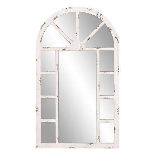Patton Wall Decor 24x40 Distressed White Arch Windowpane Wall Mounted Mirrors