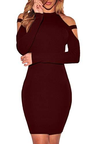 YMING Damen Kleid Langarm Kleid Stehkragen Sexy Partykleid Figurbetontes Strechkleid...