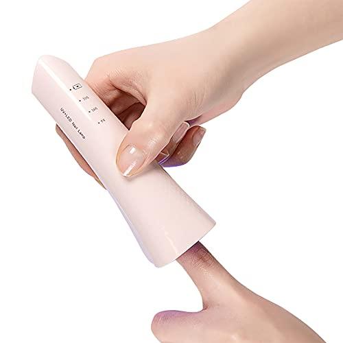 Mini lámpara de uñas LED UV inalámbrica de mano inalámbrico compacto secador de esmalte de uñas de gel portátil, recargable por USB, fácil de llevar, rosa