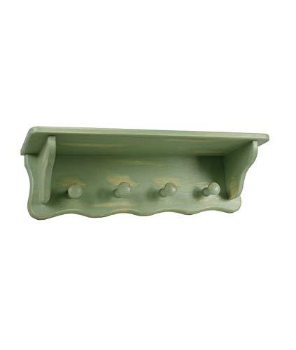 CAL FUSTER - Colgador Perchero de Pared con Sombrerero Cuatro Perchas Color Verde decapado Medidas: 20x67x20 cm.