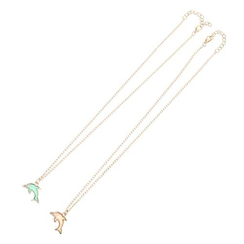 SOIMISS 2 Conjuntos de Collar de Delfín Colgante de Animal para Mujer Collar de Pareja de Joyería