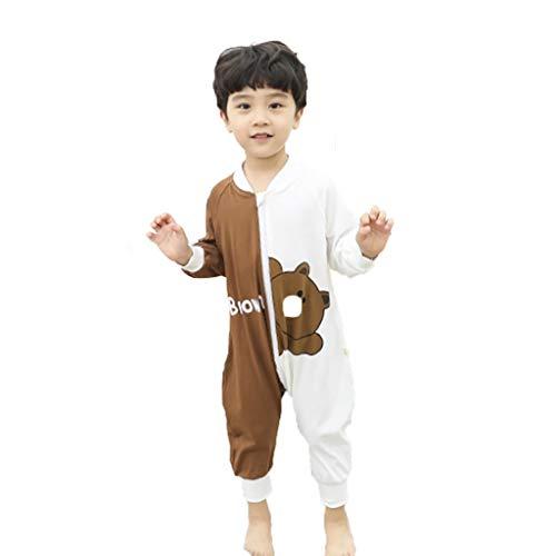 Schlafanzüge Pyjamas Fall-Pyjamas for Männer und Frauen One-Piece-Pyjamas for Jungen und Mädchen Baumwolle mit Langen Ärmeln Pyjama im Frühjahr und Herbst (Color : Brown, Size : 120cm)