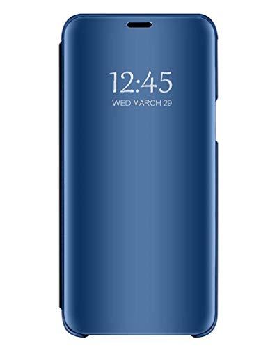 Bakicey Kompatibel mit Samsung Galaxy A8s Hülle, Samsung Galaxy A8s Spiegel Handyhülle Flip Schutzhülle Tasche mit Standfunktion Schutz Bumper Leder Hülle Cover für Samsung Galaxy A8s, Blau