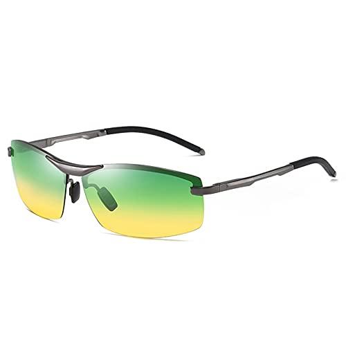 CJJCJJ Gafas de Sol polarizadas para Hombre Gafas de conducción UV400 Gafas cuadradas de Metal Gafas de Viaje Accesorios para Coche