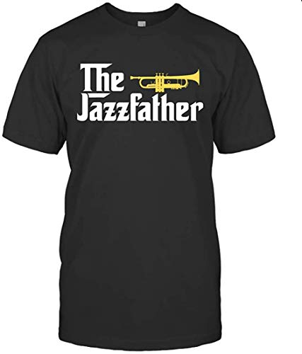 Luca POLETTO The Jazz Father Trumpet Player Gift Tee for Dad Fathers Day,Black T-Shirt,Small