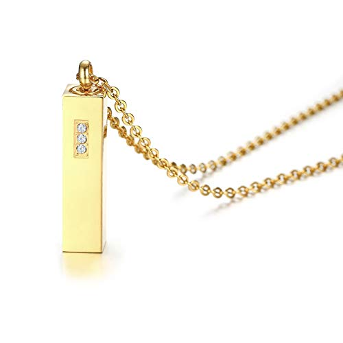 Ubestlove Stainless Steel Necklace 20 Inch Cuboid Pendant to Hold Ashes Zirconia Necklace for Women Gold