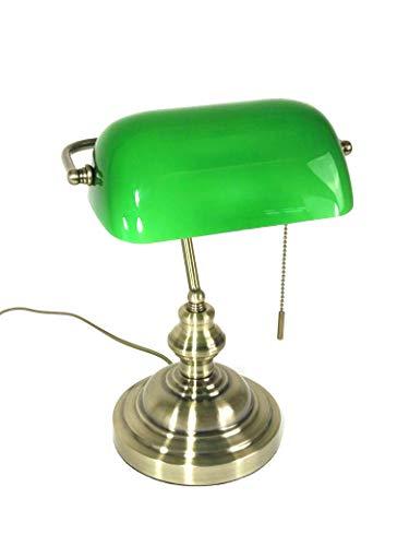 Tischleuchte Bankerslamp mit Zugschalter E27 Bankerlampe Schreibtischleuchte antik messing Schirm...