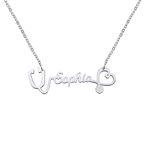 Scott NaismithCollar con nombre personalizado Collar de estetoscopio de enfermera con regalos de piedra natal para enfermeras Estudiantes de medicina Regalo de médico (Plata de ley 925)