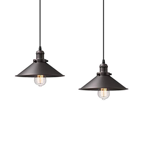 Zeyu Pendant Lighting 2 Pack, Industrial Hanging Lights for Kitchen, Oil Rubbed Bronze Finish with Metal Shade, 102-A2 ORB