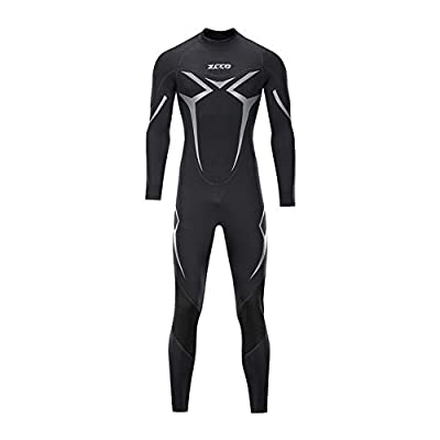ZCCO Wetsuit Men's 3mm Premium Neoprene Full Sleeve for Snorkeling, Surfing,Canoeing,Scuba Diving Suits (Black, L)
