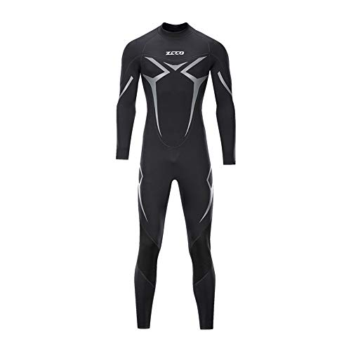 ZCCO Wetsuits - Traje de neopreno para hombre, 3 mm, manga completa, para pesca submarina, esnórquel, surf, canoa, buceo y buceo (negro, XL)