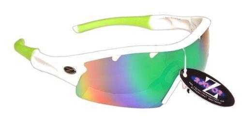 Rayzor Profesionales Ligeros UV400 Blanco Deportes Wrap Cricket Gafas de Sol, con una Pieza 1 con ventilación Azul Verde Iridium Espejo antideslumbrante Lente.