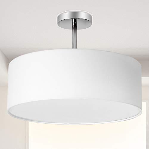 Ceiling Light, Semi-Flush Mount Modern Fabric Pendant Light Shade, Large White Drum Lampshade, Round Pendant Lamp, Lamps for bedrooms, Flush Chrome Matt, 3 Bulbs