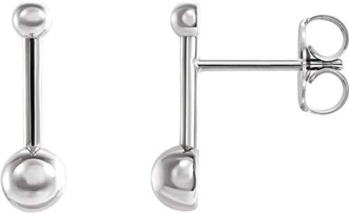 14K White Gold Bar & Ball Earrings Bar & Ball Earrings
