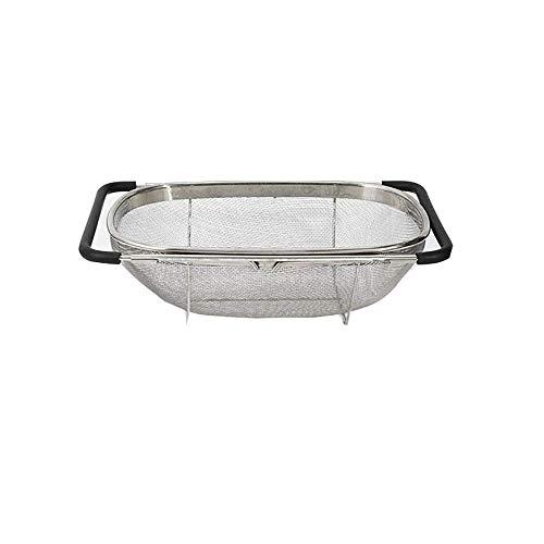 Geyan Drain Basket Passoire Ovale en Acier Inoxydable avec poignées Extensibles pour évier de Cuisine et légumes (18 cm X 27 cm X 11 cm)