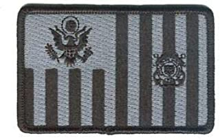 Hook/Loop Coast Guard Ensign Subdued Black/Gray W5278V USCG Patch by HighQ Store