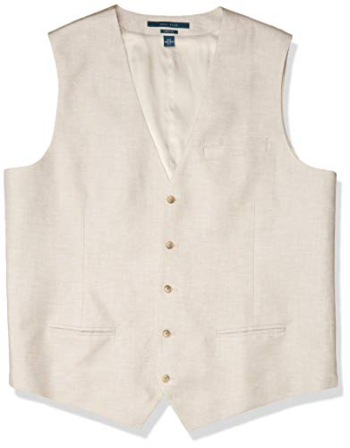 Perry Ellis Men's Linen Five Button Vest, Natural Linen, Medium