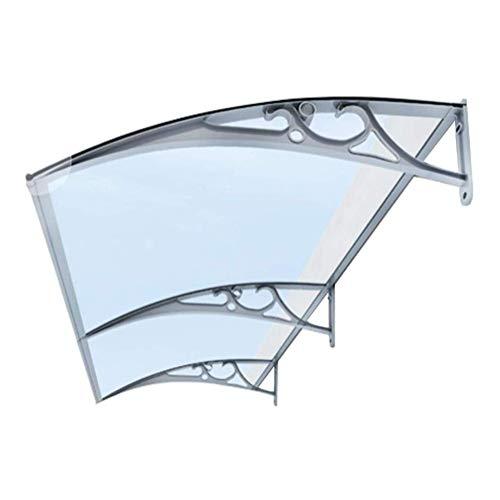 NEVY-tejadillo de protección 100x60cm Marquesina para Puertas Y Ventanas Gris Policarbonato Tejadillo De Protección para Terrazas Canopy (Color : Clear, Size : 80cmx160cm)
