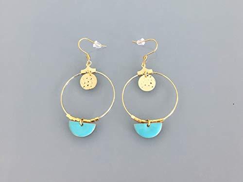 Goldene kreolische Ohrringe mit blauem Halbmond, Schmuck, Ohrringe, goldenen Ohrringen, goldenem Schmuck, goldenen Ohrringen