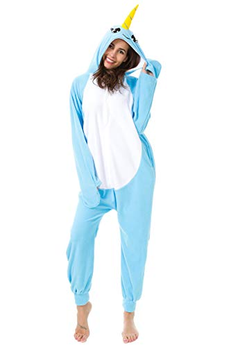 XVOVX Unisex Animal Narwhal Cosplay Costume Pajamas Onesies Sleepwear for Adults and Children