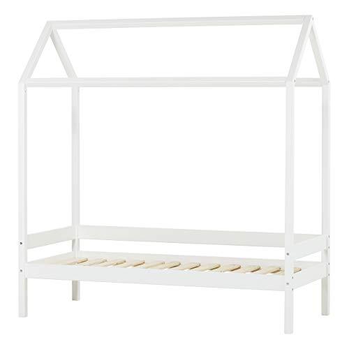 Hoppekids Marie Kinderbett Hausbett Kinder Bett Holz Haus Schlafen Spielbett, Kiefer massiv, Weiß, 166 x 76 x 175 cm