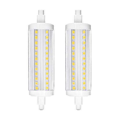 R7S LED-Leuchtmittel, 118 mm, dimmbar, doppelendige Fassung, entspricht 30 W, 40 W, 60 W Halogenlampe, 10 W AC 200–240 V, 6000 K, 2 Stück Tageslicht White