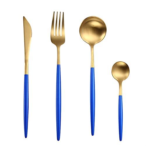 4 PCS Mate Negro Cubiertos Sistema de cubiertos de acero inoxidable Conjunto de cubiertos Cocina Silateráticos Vajilla Vajilla Vajilla Cuchara Cuchillo Cuchillos Palillos (Color : Blue gold)