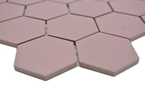 Keramische mozaïek hexagon klinkerrood R10B douchebak vloertegel mozaïektegel keuken badkamer vloer MOS11H-0099-R10_m