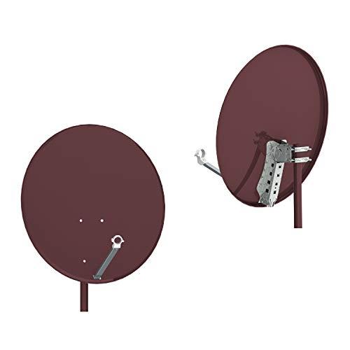 RED OPTICUM QA80 Antenna satellitare acciaio, colore: rosso mattone - senza LNB
