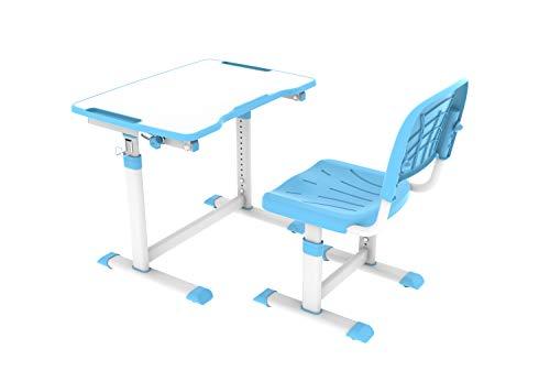 CUBBY Olea Blue Kinderschreibtisch neigungsverstellbar, Schülerschreibtisch höhenverstellbar, Schreibtisch mit Stuhl, Blau, 670x470x545-762 mm