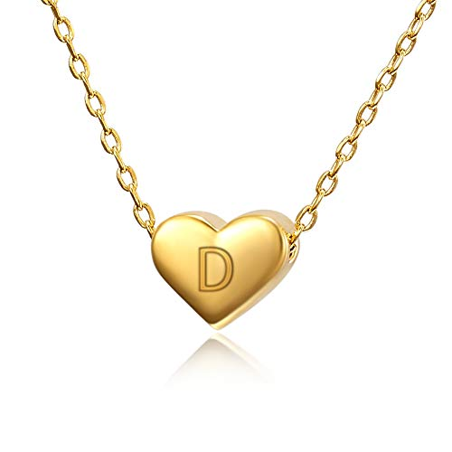 YKULEW Tiny Cute Heart Pendant Initial Necklace for Women Kids Child 18K Gold Plated Dainty Personalized Letter D Alphabet Jewelry Gifts for Girls Teens