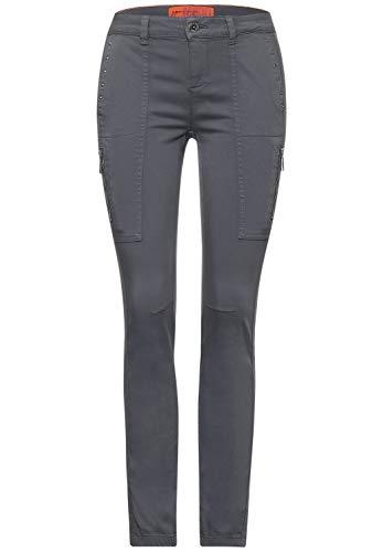 Street One Damen Cargo-Style Hose mit Nieten Light Shaded Grey 40 Slim, Schmale Beinform, Hipster, Reißverschluss und Knopf, Middle Waist und Slim Legs, Damenhosen Style York