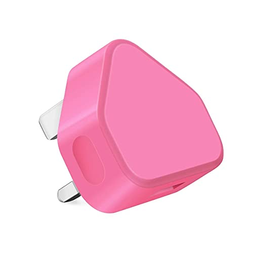 Amo Themax 1mAh USB UK Plug Universal Charger Adapter By CE Approved Compatible iPhone iPad Samsung Galaxy HTC LG Sony Motorolla BlackBerry Lenova OnePlus Tablets Nokia Kindle Etc (Bright Pink)