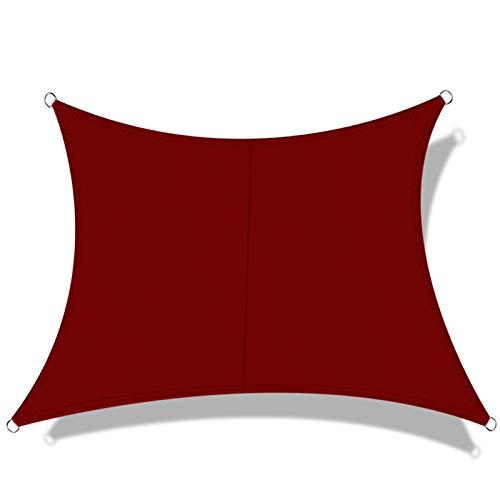 OKAWADACH Toldo Vela de Sombra Cuadrado 3 x 3 m, protección Rayos UV Impermeable para Patio, Exteriores, Jardín, Color Vino Tinto